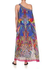 ONE SHOULDER KAFTAN WITH NECKBAND PSYCHEDELICA