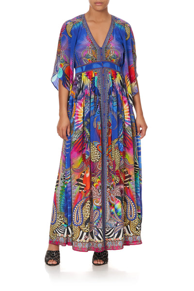 LONG DRESS WITH SMOCKED WAIST PSYCHEDELICA