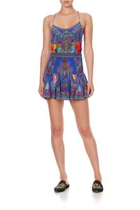 SHORT SHIRRED SKIRT PSYCHEDELICA