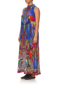 HIGH NECK DRESS WITH BACK NECK TIE PSYCHEDELICA