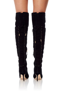 LACED THIGH HIGH BOOT BLACK CONTEMPORARY
