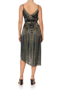ASYMMETRICAL WRAP DRESS WITH STRAPS GREAT SCOTT