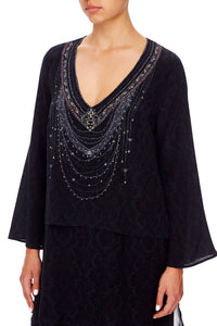 BLOUSE WITH SIDE SPLIT MIDNIGHT MEETING