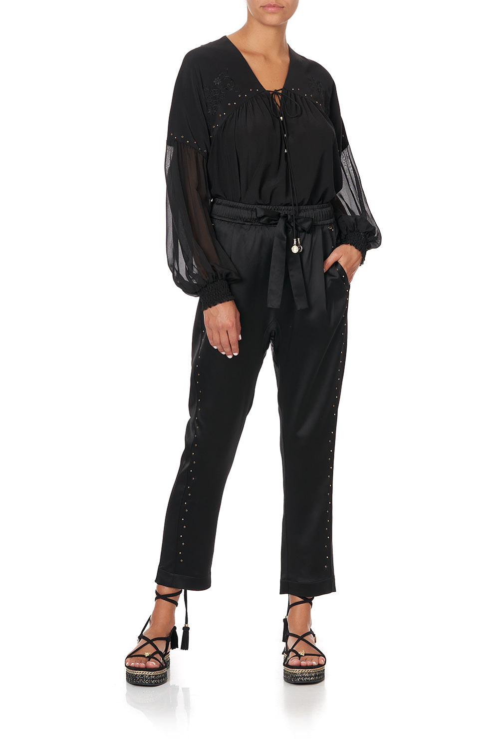 BLOUSON BLOUSE WITH NECK TIE SOLID BLACK