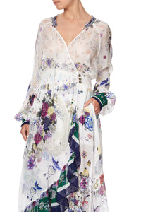 BLOUSON SLEEVE WRAP DRESS GENTLE MOON