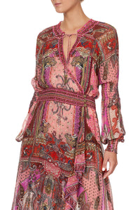 BLOUSON SLEEVE WRAP DRESS LOTUS LOVERS