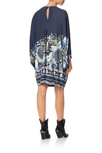 BOAT NECK BAT SLEEVE DRESS WITH CUFF NATURES NECTAR