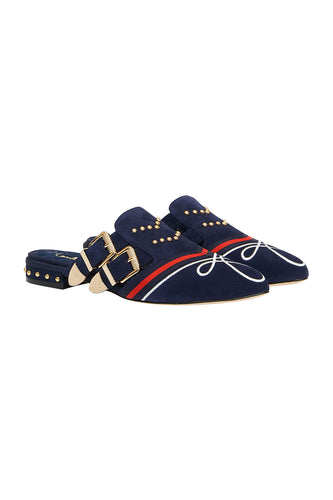 CAMILLA BUCKLE SLIPPER NAVY