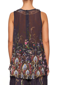 CAMILLA BUTTON BACK TOP WILD FLOWER
