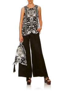 CAMILLA SOLID BLACK LOUNGE TROUSER W CUFFS