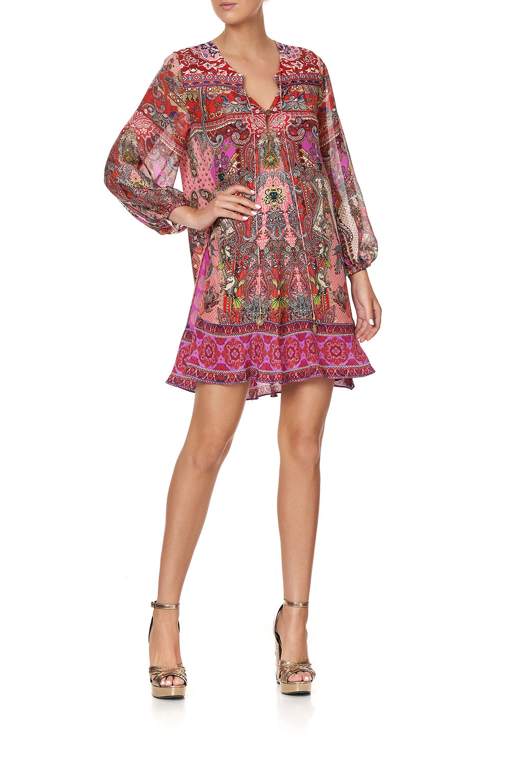 BUTTON UP DRESS WITH YOKE LOTUS LOVERS