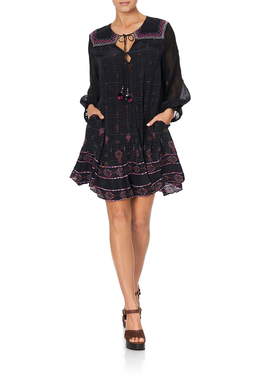 BUTTON UP DRESS WITH YOKE MINA MINA