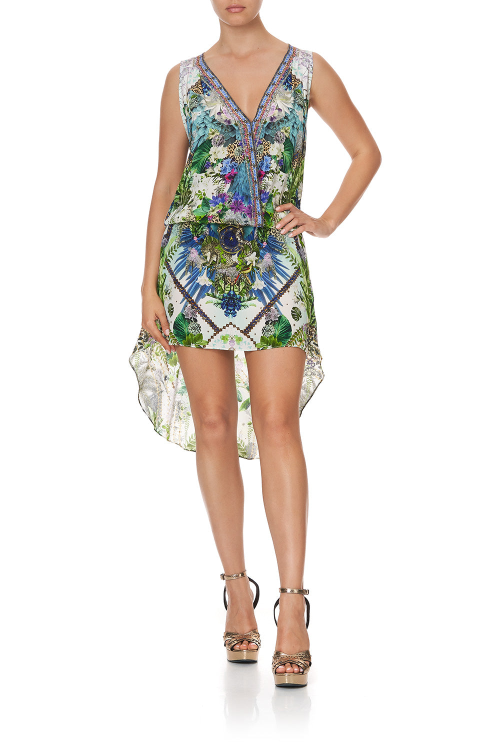 CROSS OVER DRESS WITH LONG BACK MOON GARDEN