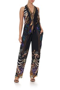 DRAPED FRONT BODICE JUMPSUIT WITH NECK TIE SHES GOT GRACE