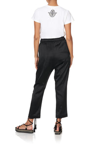 DROP CROTCH SLIM LEG PANT SOLID BLACK