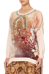 DROP SHOULDER BOX KNIT COASTAL TREASURE