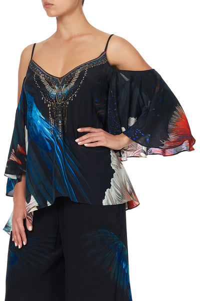 DROP SHOULDER STRAPPY BLOUSE NIGHT FLIGHT