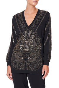 EMBELLISHED V NECK KNIT COBRA KING