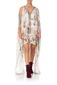 LONG SHEER OVERLAY DRESS JARDIN POSTCARDS - O/S