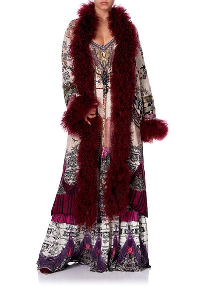 LONG KNIT JACQUARD COAT WITH FUR VIOLET CITY