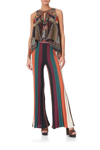 FIT AND FLARE KNIT PANTS PAVED IN PAISLEY