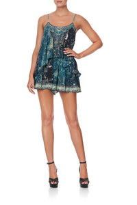 FLARED PLAYSUIT WITH OVERLAYER INTO THE MYSTIQUE