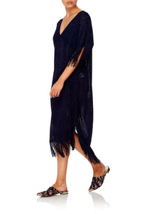 CAMILLA FRINGED KNIT KAFTAN MIDNIGHT MEETING