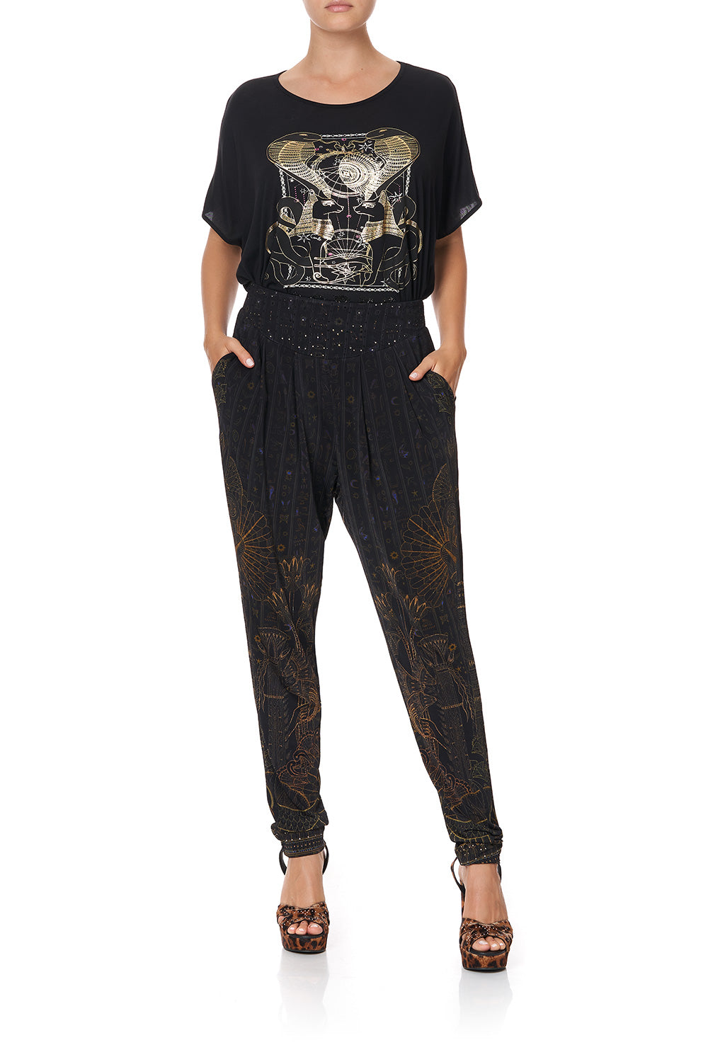 HAREM PANTS WITH FRONT PLEATS BEADS OF LOVE