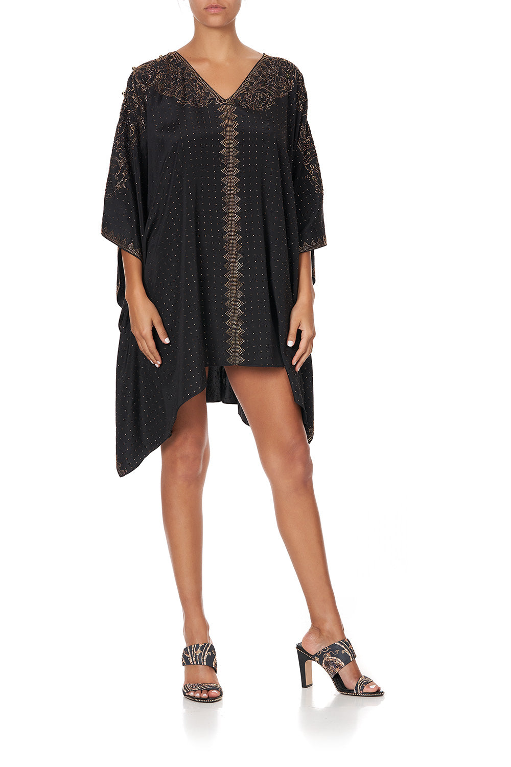 KAFTAN WITH BUTTON UP SLEEVES LUXE BLACK