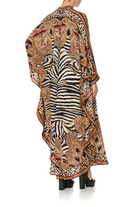 KAFTAN WITH HIGH COLLAR STAND WILD FIRE