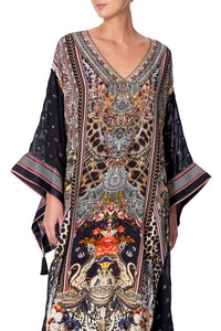 KAFTAN WITH SHEER SLEEVE MARAIS AT MIDNIGHT