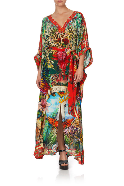 KAFTAN WITH V-NECKBAND AND BELT FARAWAY TREE