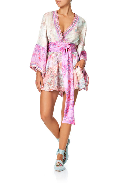 KIMONO SLEEVE PLAYSUIT WITH OBI BELT ELECTRON LIBRE