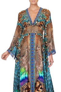 KIMONO SLEEVE DRESS WITH SHIRRING DETAIL MOTHER XANADU