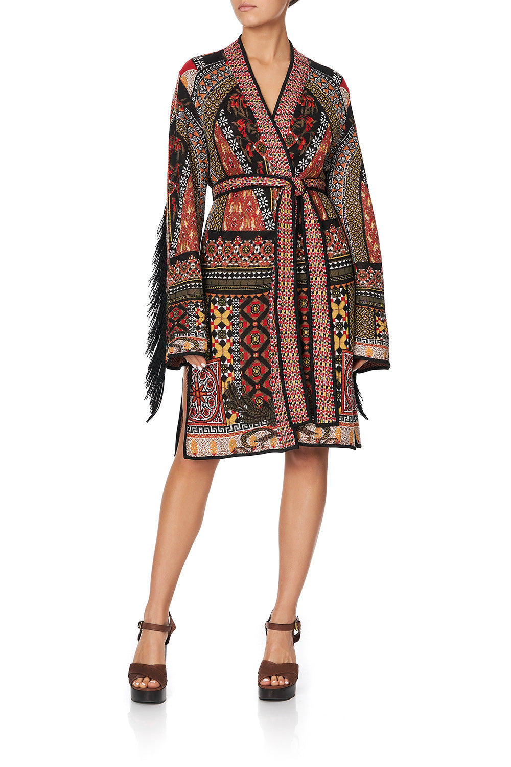 KNIT JACQUARD JACKET WITH CROCHET INSERTS PAVED IN PAISLEY