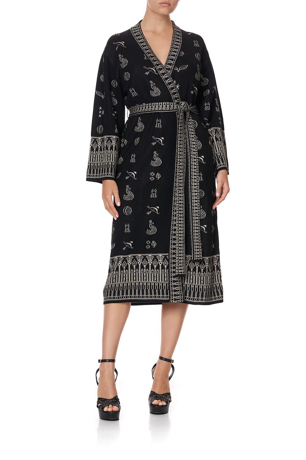 KNIT JACQUARD ROBE WITH WIDE SLEEVE YOU'VE GOT MAIL