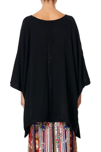 KNITTED PONCHO WITH SILK LINING BLACK