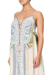 LACE UP FRONT PANEL DRESS BEACH SHACK