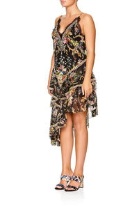 CAMILLA LAYERED ASYMMETRICAL DRESS FRIEND IN FLORA