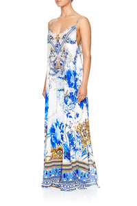 CAMILLA LONG DRESS WITH SHEER UNDERLAY SAINT GERMAINE
