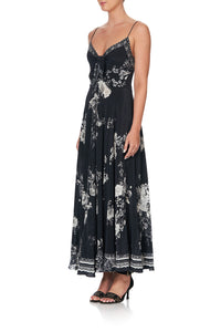LONG DRESS WITH TIE FRONT MOONSHINE BLOOM
