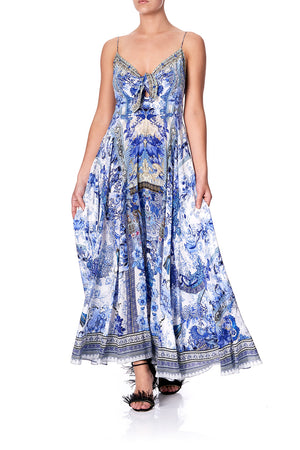 941e091174251 LONG DRESS WITH TIE FRONT PAINTED PROVINCIAL (XS)