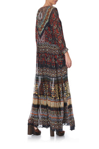 LONG GATHERED PANEL DRESS PAVED IN PAISLEY