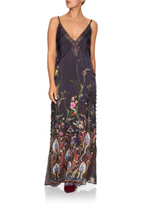 LONG GODET SLIP DRESS WILD FLOWER