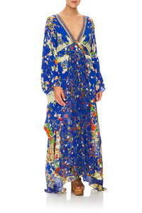 CAMILLA LONG KAFTAN WITH WAISTBAND PLAYING KOI