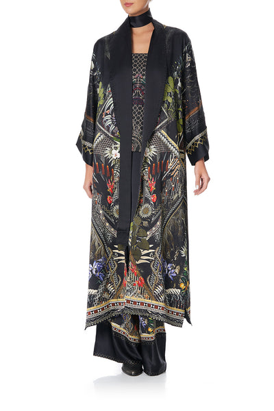 LONG ROBE WITH NARROW COLLAR BOTANICAL CHRONICLES