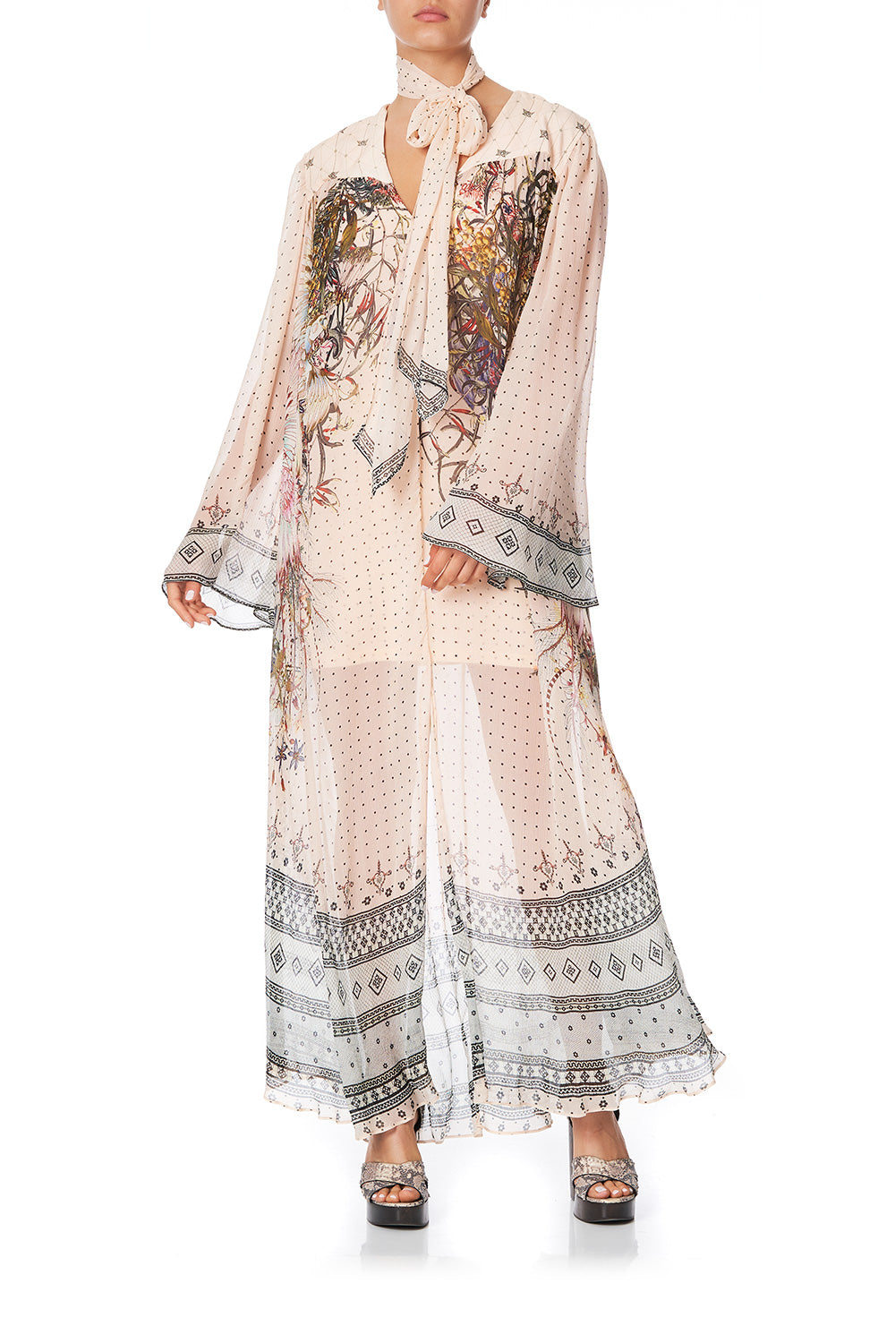 LONG SLEEVE DRESS WITH YOKE KINDRED SKIES