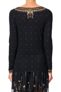 CAMILLA LONG SLEEVE FITTED TOP REBELLE REBELLE