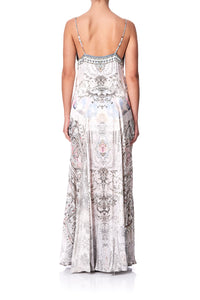 LONG SLIP DRESS WITH GODETS CRYSTAL CASTLE