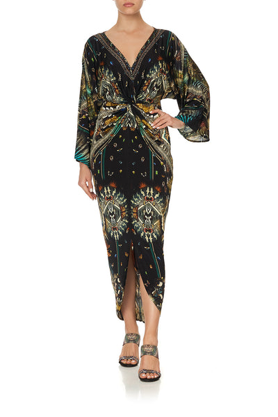 LONG SPLIT FRONT TWIST DRESS MATERNAL INSTINCT
